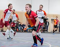 DELFT -  Jim van de Venne (Oranje-Rood)   tijdens de zaalhockey hoofdklasse competitiewedstrijd Oranje Rood-Almere . COPYRIGHT KOEN SUYK