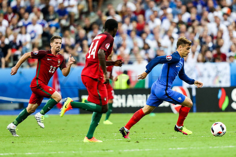 Adrien and Antoine Griezmann fighting for the ball during the match against that opposed France and Portugal. Portugal won the Euro Cup beating in the final home team France at Saint Denis stadium in Paris, after winning on extra-time by 1-0.