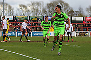 Forest Green's Kurtis Guthrie celebrates scoring his and his teams 2nd goal of the match during the Vanarama National League match between Bromley FC and Forest Green Rovers at Hayes Lane, Bromley, United Kingdom on 28 March 2016. Photo by Shane Healey.