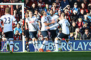 Tottenham Hotspur midfielder Mousa Dembele in pain after scoring during the Barclays Premier League match between Bournemouth and Tottenham Hotspur at the Goldsands Stadium, Bournemouth, England on 25 October 2015. Photo by Mark Davies.