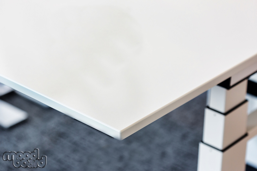 Close up of table edge design in office