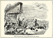 The Railway Juggernaut of 1845':  Railway-mad investors falling down in front of the juggernaut of railway speculation. Cartoon from 'Punch', London, 1845.