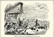 The Railway Juggernaut of 1845':  Railway-mad investors falling down in front of the juggernaut of railway speculation. Cartoon from 'Punch', London, 1845.