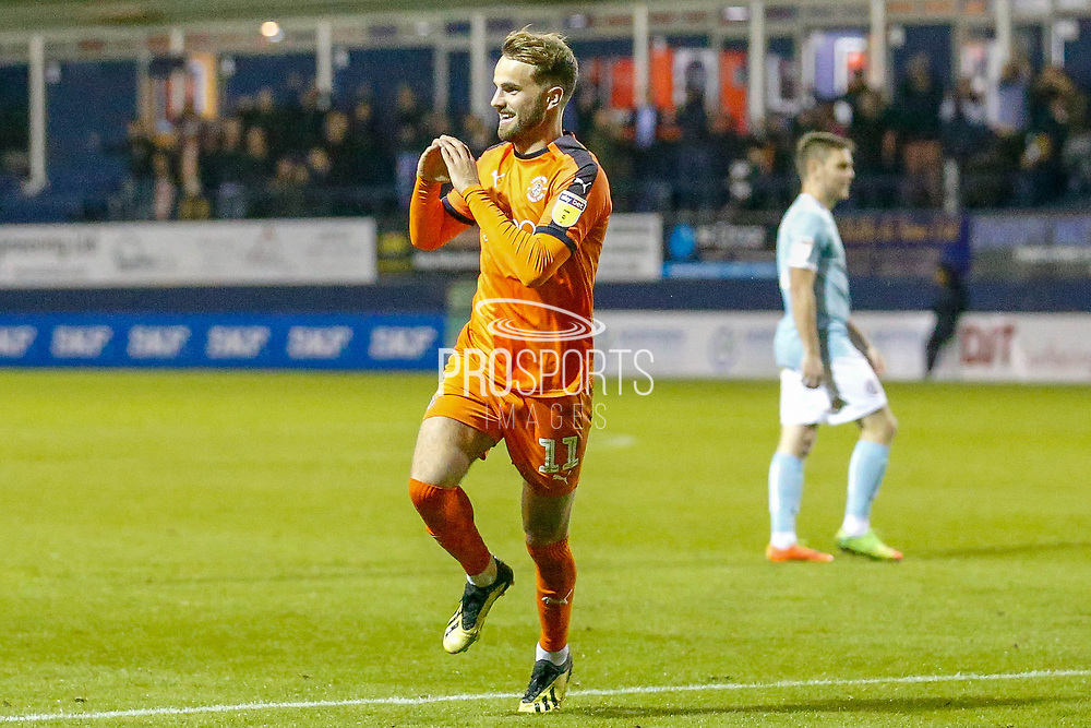 Goal Luton Town midfielder Andrew Shinnie (11) scores during the EFL Sky Bet League 1 match between Luton Town and Accrington Stanley at Kenilworth Road, Luton, England on 23 October 2018.