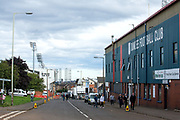 Dens Park (right) with Tannadice Stadium (far left) in the background ahead of the Betfred Scottish Cup match between Dundee and Dundee United at Dens Park, Dundee, Scotland on 9 August 2017. Photo by Craig Doyle.