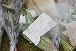 Tributes surround the statue of Celtic legend Billy McNeil at Parkhead the day after his funeral, Celtic Park, Parkhead, Glasgow, Angie Isac   EEm Saturday 04 May 2019