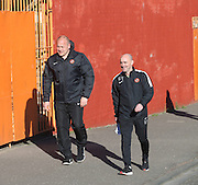 Dundee United boss Mixu Paatelainen and assistant Gordon Young make the traditional walk up Tannadice Street ahead of the derby  - Dundee v Dundee United, Ladbrokes Scottish Premiership at Dens Park<br /> <br /> <br />  - &copy; David Young - www.davidyoungphoto.co.uk - email: davidyoungphoto@gmail.com