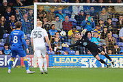 AFC Wimbledon goalkeeper James Shea (1) saving from free kick during the EFL Sky Bet League 1 match between AFC Wimbledon and Northampton Town at the Cherry Red Records Stadium, Kingston, England on 11 March 2017. Photo by Matthew Redman.
