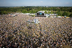 © Licensed to London News Pictures . 09/06/2013 . Heaton Park , Manchester , UK . Aerial view of the main stage . Day 2 of the Parklife music festival in Manchester on Sunday 9th June 2013 . Photo credit : Joel Goodman/LNP