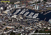 aerial photograph of the Barbican Plymouth Devon , England UK