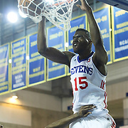 Delaware 87ers Forward Norvel Pelle (15) dunks the ball in the course of the first half of a NBA D-league regular season basketball game between the Delaware 87ers (76ers) and the Erie BayHawks (Knicks) Friday, March. 28, 2014 at The Bob Carpenter Sports Convocation Center in Newark, DEL