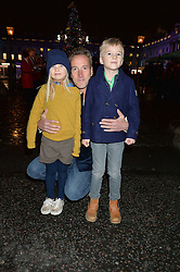 BEN FOGLE with his children IONA & LUDO at Skate At Somerset House with Fortnum & Mason on 16th November 2016.
