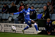 Peterborough United midfielder Siriki Dembele (10) keeps this ball in during the EFL Sky Bet League 1 match between Peterborough United and Accrington Stanley at London Road, Peterborough, England on 20 October 2018.