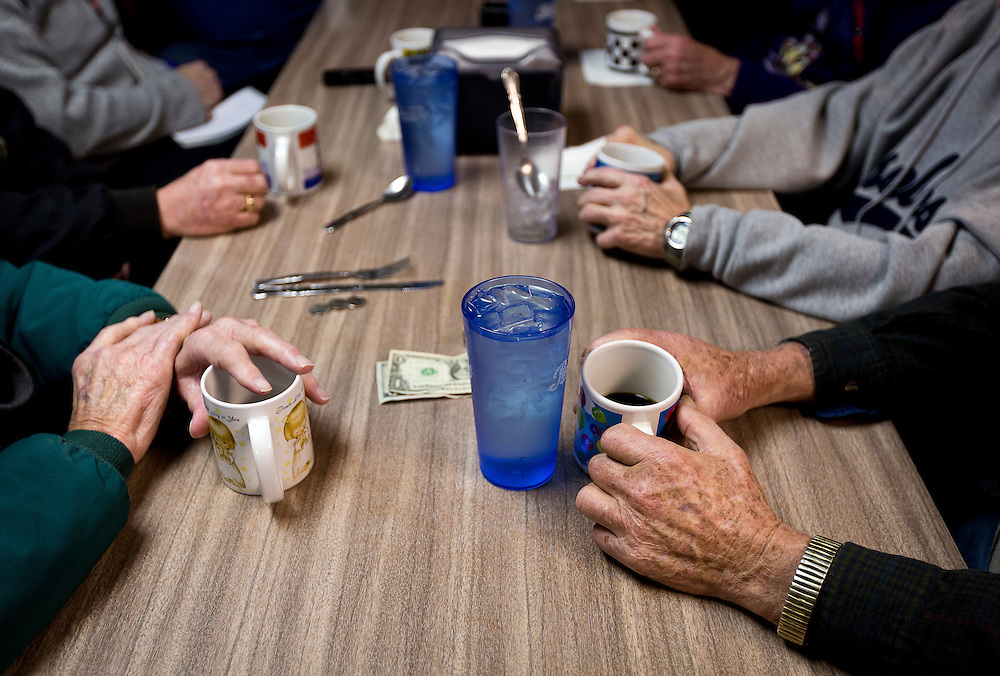 "MONTICELLO, IA – JANUARY 6: Diners at the ""Liberal table"" discuss political opinions at Darrell's in Monticello, Iowa on January 6, 2017."