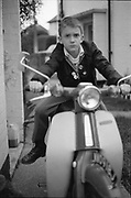 Neville on scooter. High Wycombe, UK, 1980's