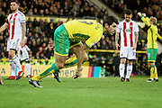 Norwich City midfielder Nelson Oliveira wheels away after scoring the fourth goal during the EFL Sky Bet Championship match between Norwich City and Brentford at Carrow Road, Norwich, England on 3 December 2016. Photo by Nigel Cole.
