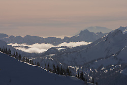 North America, United States, Washington, snow covered ridges at Crystal Mountain ski resort