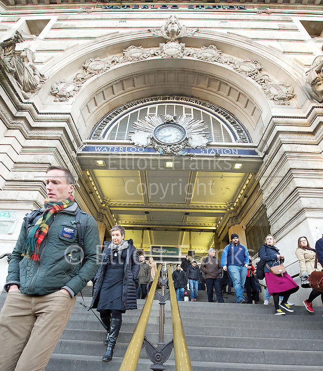 Sadiq Khan <br /> Mayor of London <br /> campaigns on rail fares and bringing commuter services under TfL control at Waterloo Station , London, Great Britain <br /> 3rd January 2017 <br /> <br /> <br /> Commuters arriving at Waterloo station this morning <br /> <br /> Photograph by Elliott Franks <br /> Image licensed to Elliott Franks Photography Services