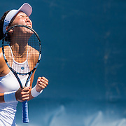 August 22, 2016, New Haven, Connecticut: <br /> Sophie Chang reacts after winning the US Open National Playoffs women's singles finals match on Day 4 of the 2016 Connecticut Open at the Yale University Tennis Center on Monday August  22, 2016 in New Haven, Connecticut. <br /> (Photo by Billie Weiss/Connecticut Open)