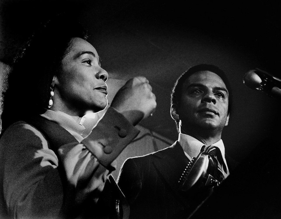 Coretta Scott King, widow of the slain civil rights leader Dr. Martin Luther King, Jr., stands with Andrew Young as he sheds a tear as he concedes defeat in his first run for the Georgia 5th District Congressional race on election night 1970. Young's longtime friend and lieutenant to Martin Luther King, Jr. - To license this image, click on the shopping cart below -