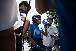 Paula Andrea Patino Bedoya (COL) of Movistar Women's Team chats to the press after La Course by Le Tour de France, a 121 km road race starting and finishing in Pau, France on July 19, 2019. Photo by Balint Hamvas/velofocus.com