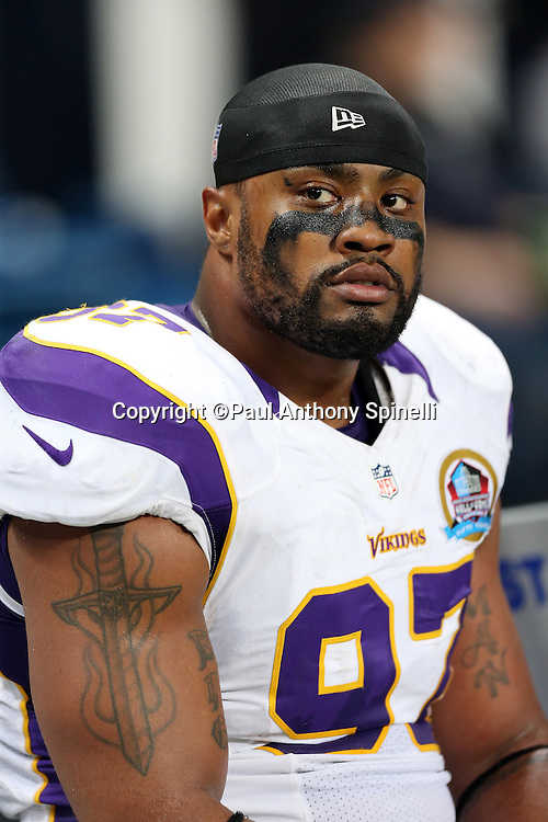 Minnesota Vikings defensive end Everson Griffen (97) looks on from the sideline during the NFL week 15 football game against the St. Louis Rams on Sunday, Dec. 16, 2012 in St. Louis. The Vikings won the game 36-22. ©Paul Anthony Spinelli