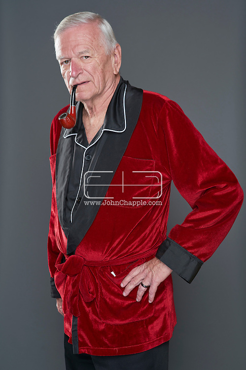 February 22, 2016. Las Vegas, Nevada.  The 22nd Reel Awards and Tribute Artist Convention in Las Vegas. Celebrity lookalikes from all over the world gathered at the Golden Nugget Hotel for the annual event. Pictured is  Hugh Hefner lookalike, George Kane.<br /> Copyright John Chapple / www.JohnChapple.com /