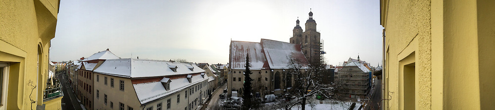 An exterior panoramic view  created by an iPhone 5s of the Old Latin School (far right) and the Stadtkirche (center, right) on Thursday, Jan. 30, 2014, in Wittenberg, Germany. LCMS Communications/Erik M. Lunsford