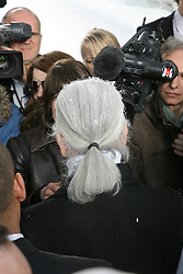 Designer Karl Lagerfeld is surrounded by international media at the end of the Chanel Fall-Winter 2007-2008 Ready-to-Wear collection show held at the Grand Palais in Paris, France on March 2, 2007. Photo by Guignebourg-Khayat-Taamallah/ABACAPRESS.COM