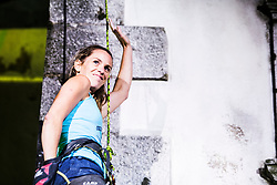 Maja Vidmar Štremfelj during Finals in climbing the 30m high bell tower on August 3, 2019 in Kanal ob Soci, Slovenia. Photo by Peter Podobnik / Sportida