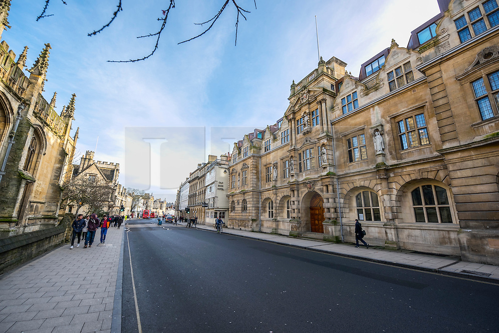 © Licensed to London News Pictures. 13/01/2016. Oriels College, Oxford. A Cecil Rhodes statue (top right) at Oriel College at Oxford University in Oxford. There is a campaign to remove the statue of Cecil Rhodes from the front of Oriel College by a group calling themselves Rhodes must fall. Photo credit : Mark Hemsworth/LNP
