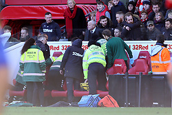 Medical emergency in the away dugout during the Sky Bet Championship match at The Riverside Stadium, Middlesbrough.