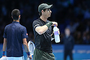 Andy Murray (Great Britain) with water during the final of the Barclays ATP World Tour Finals at the O2 Arena, London, United Kingdom on 20 November 2016. Photo by Phil Duncan.