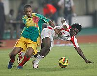 Photo: Steve Bond/Richard Lane Photography.<br />Mali v Benin. Africa Cup of Nations. 21/01/2008. Razack Omotoyossi (R) goes to ground under pressure from Seydou Keita (L)