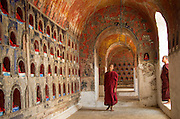 Monks in Buddhist temple, Mandalay, Burma