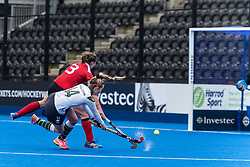 Surbiton's Olivia Chilton shoots. Holcombe v Surbiton - Investec Women's Hockey League Final, Lee Valley Hockey & Tennis Centre, London, UK on 29 April 2018. Photo: Simon Parker