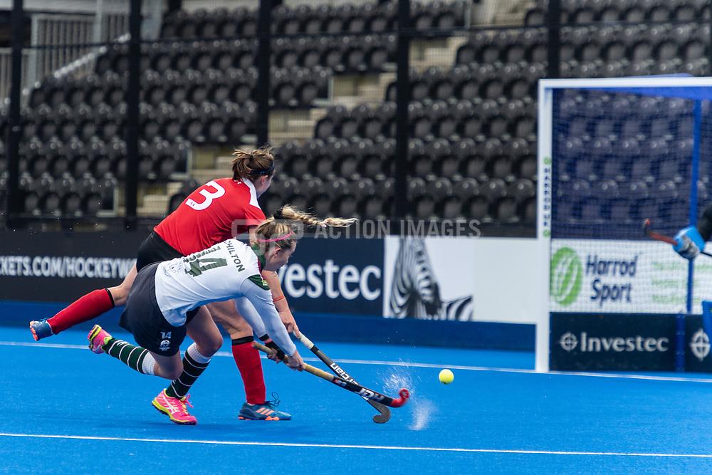 Surbiton's Olivia Chilton shoots. Holcombe v Surbiton - Investec Women's Hockey League Final, Lee Valley Hockey & Tennis Centre, London, UK on 29 April 2018. Photo: Simon Parker