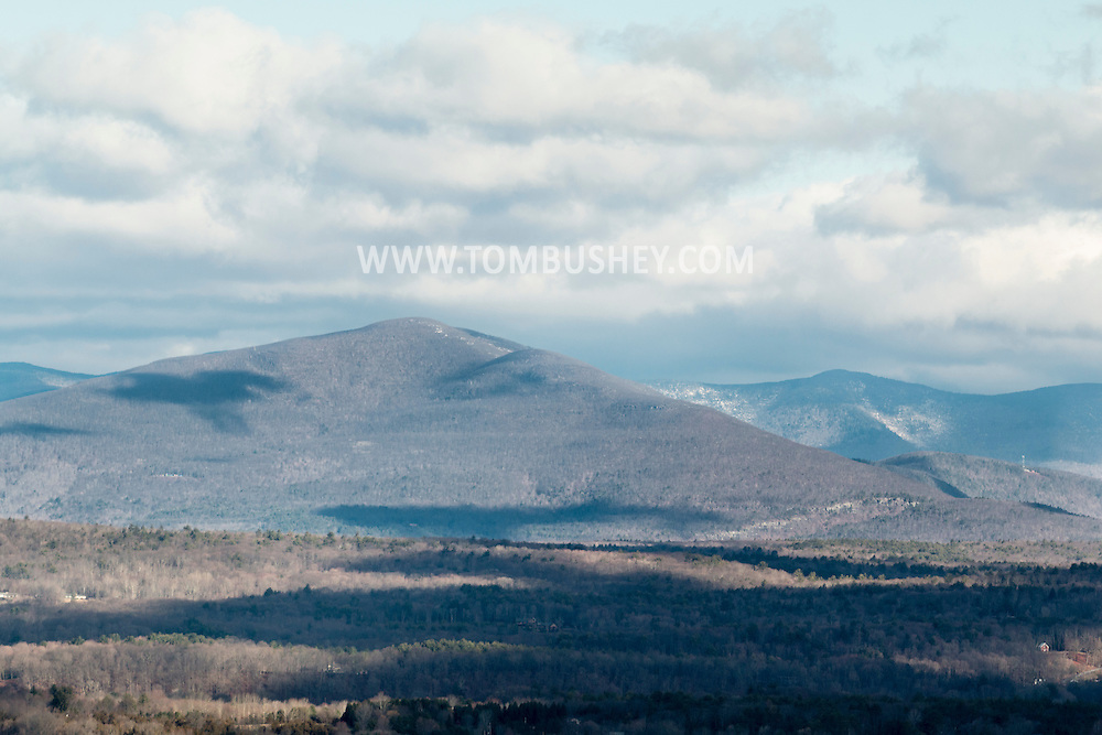 "Marbletown, New York - The ""Million Dollar View"" of the Catskill Mountains from the Spring Farm Trailhead at the Mohonk Preserve on April 11, 2015."