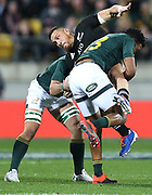 All Blacks Sonny Bill Williams is tackled during the Rugby Championship match between the New Zealand All Blacks & South Africa at Westpac Stadium, Wellington on Saturday 27th July 2019. Copyright Photo: Grant Down / www.Photosport.nz