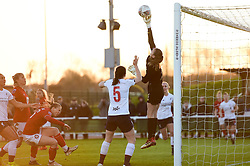 Anke Preuss of Liverpool Women tips the ball away - Mandatory by-line: Ryan Hiscott/JMP - 19/01/2020 - FOOTBALL - Stoke Gifford Stadium - Bristol, England - Bristol City Women v Liverpool Women - Barclays FA Women's Super League