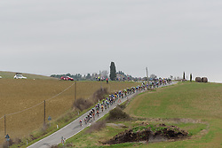 Peloton speed through the rolling countryside at Strade Bianche - Elite Women. A 127 km road race on March 4th 2017, starting and finishing in Siena, Italy. (Photo by Sean Robinson/Velofocus)