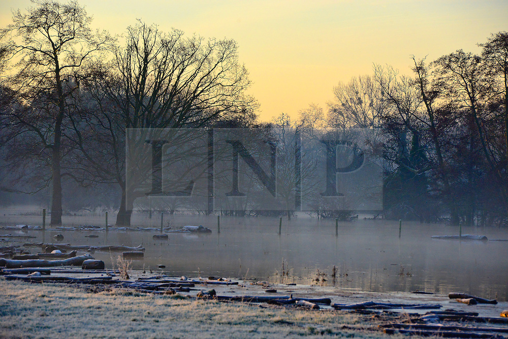 © Licensed to London News Pictures. 12/01/2014. Wraysbury, UK. Frozen flood water at sunrise. Flooding in Wraysbury, Berkshire today 12th January 2014.  Flooding and property damage is expected to continue along the River Thames.  Large areas of Britain are experiencing flooding after wet weather. Photo credit : Stephen Simpson/LNP