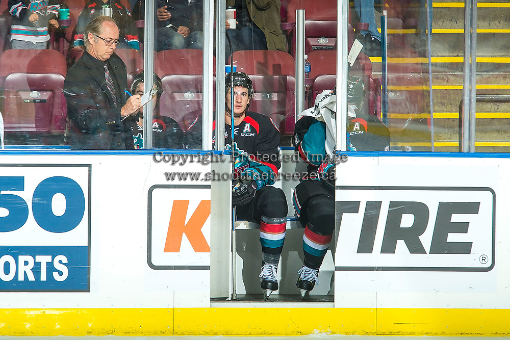 KELOWNA, CANADA - OCTOBER 4: Dillon Dube #19, James Hilsendager #2 and Gordie Ballhorn #4 of the Kelowna Rockets sit in the penalty box against the Victoria Royals on October 4, 2017 at Prospera Place in Kelowna, British Columbia, Canada.  (Photo by Marissa Baecker/Shoot the Breeze)  *** Local Caption ***