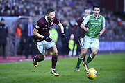 David Milinkovic on the ball during the William Hill Scottish Cup 4th round match between Heart of Midlothian and Hibernian at Tynecastle Stadium, Gorgie, Scotland on 21 January 2018. Photo by Kevin Murray.