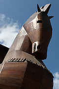Head of a wooden model of the Trojan Horse built by the Turkish government in Troy, Turkey. Troy was a city, both factual and legendary, in northwest Anatolia in what is now Turkey. The original Trojan horse was said to be used by the Greeks to capture the city of Troy from the Trojans during the Trojan War. Greek soldiers hid inside the body of the horse which was pulled into the besieged city by the Trojans, who believed the Greeks to have retreated. Picture by Manuel Cohen