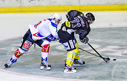 19.08.2012, Messestadion, Dornbirn, AUT, Eishockey Testspiel, Dornbirner Eishockey Club vs EV Ravensburg Towerstars, im Bild Simon Sezemsky, (EV Ravensburg Towerstars #93) und Dale Mitschell, (Dornbirner Eishockey Club, #71) // during a international Icehockey Friendly Match between Dornbirner Icehockey club and EV Ravensburg Towerstars at the Exhibition Stadium, Dornbirn, Austria on 2012/08/19, EXPA Pictures © 2012, PhotoCredit EXPA/ Peter Rinderer