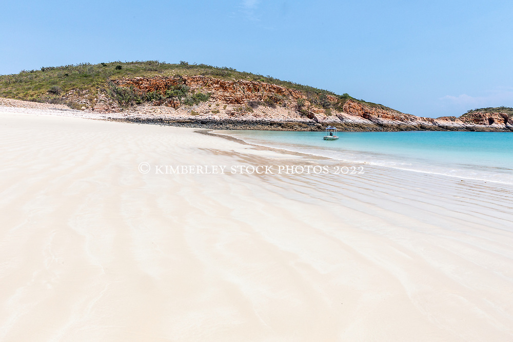 A pristine white sandy beach on the north side of Macleay Island on the Kimberley coast.