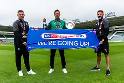 (Free to use courtesy of Sky Bet) Captain Gary Sawyer with Assistant Manager Steven Schumacher and Manager Ryan Lowe (social distanced) as Plymouth Argyle celebrate promotion to League One after the curtailment of the regular season due to the Covid-19 pandemic - Rogan/JMP - 01/07/2020 - Home Park - Plymouth, England - Sky Bet League 2.