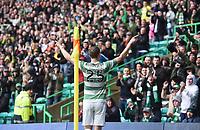 16/08/14 SCOTTISH PREMIERSHIP<br /> CELTIC v DUNDEE UTD<br /> CELTIC PARK - GLASGOW<br /> Celtic star Stefan Johanssen celebrates after making it 3-0 in the first-half