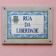 Painted ceramic street sign of Rua da Liberdade, Figueira da Foz, Portugal